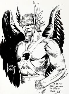 Original Hawkman illustration by Joe Kubert, 1992.