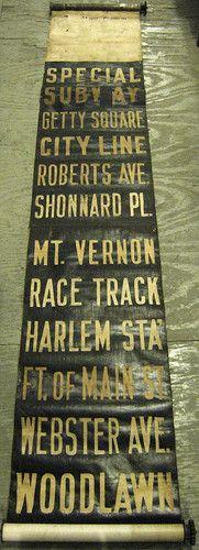 Vintage New York City Yonkers Trolley Destination Roll Sign Cloth   eBay