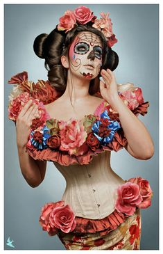 "benefik: "" 1- Spring Muertos 2-Summer muertos 3-Fall Muertos 4-Winter Muertos Costume/hair/photo: Gayla MUA/Model"" Lisa Naeyaert "" Candy Castle, Cotton Candy, Sugar Skulls, Tube, Skulls, Candy Skulls, Sugar Skull Face, Sugar Skull"