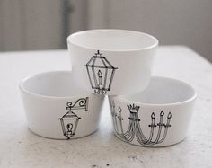 trio of new orleans light fixture dipping bowls - black and white - hand drawn illustration set of three (3). $30.00, via Etsy.