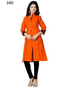 Buy Fency Orange Color Cotton 3/4 Sleeves Knee Length Semi Stitched Casual Wear Kurti Online - Indian Wear