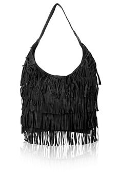 Oversized Fringe Leather Hobo Bag - Topshop