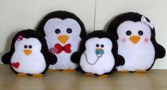 Familia Pinguim em Feltro ( 4 Peças)