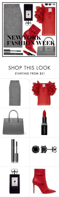 """""""NYFW"""" by sandevapetq ❤ liked on Polyvore featuring Valentino, Rosie Assoulin, Prada, Smashbox, Chanel, Jo Malone and Gianvito Rossi"""