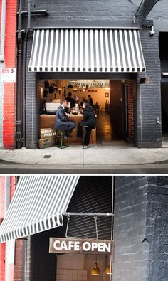 Love the functional layout of this place. Everything in terms of the layout keeps left which provides a great thoroughfare but also increases the sense of space and width. I also love the intimate seating and takeaway access at the front (no to mention the cafe open sign)  # Little Mule, Melbourne (photos by Nico Alary)