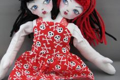 Two Headed Floppy Doll, Red and Black Hair in Skull Dress Skull Dress, Fabric Dolls, Black Hair, Disney Characters, Fictional Characters, Objects, Disney Princess, Unique, Red