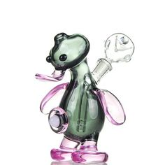 Adorable Glass Bubblers Green Duck