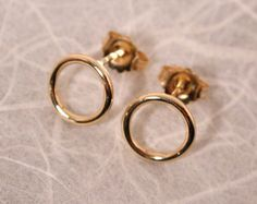 14k Solid Gold Earrings Circle Studs Small Hoop Earrings 8.5mm Round by SARANTOS