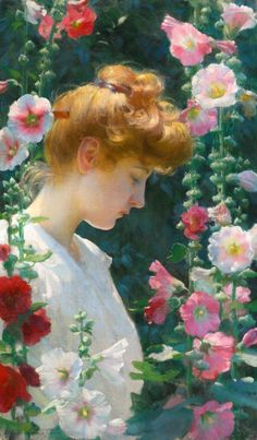 CURRAN, Charles Courtney (1861-1942)  Hollyhocks and Sunlight (inv.) 1902 Private collection Ed. Orig. Lic. Ed.