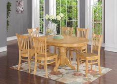 5 PC, or 7PC OVAL DINETTE DINING ROOM TABLE SET W/ WOOD SEAT CHAIRS, OAK  http://stores.ebay.com/Dining-Furniture