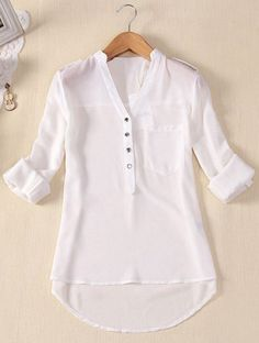 Womens Spring Summer V-neck Chiffon Long Sleeve Casual elegant Shirt Blouse Tops Shirts & Tops, Shirt Blouses, Casual Shirts, Long Shirts, Tee Shirt, Chiffon Shirt, Chiffon Tops, White Chiffon, Sheer Chiffon