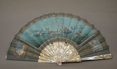 Painted Mother of Pearl and Parchment Fan by Edouard Moreau, ca. 1860-75