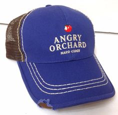 ANGRY ORCHARD HARD CIDER HAT Curved Bill Trucker Dark Blue&Brown Apple Men/Women #AngryOrchard #Trucker