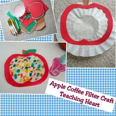 apple coffee filter craft with apple template
