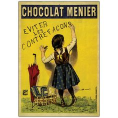 Chocolate Menier by Firmin Bouisset Vintage Advertisement on Wrapped Canvas