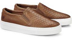Trendige Slip-Ons im Kroko-Look liefert uns das Kult-Label Apple of Eden. Braunes Leder steht dabei im hippen Kontrast zur einer sportiven weißen Sohle.