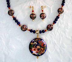 Blue Lapis Gemstone Necklace with Vintage Chinese by JewelrybyIshi, $95.00