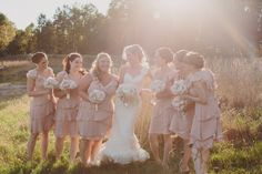 sunflare + blush pink bridesmaids \\ holly hedge wedding photography by Lauren + Tim Fair