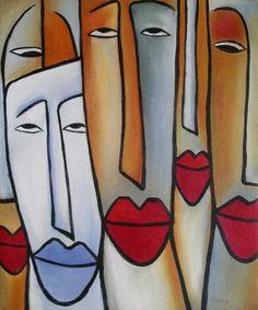 Olieverf schilderij Lange Gezichten