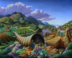 Horn Of Plenty - Cornucopia - Autumn Thanksgiving Harvest Landscape Oil Painting - Food Abundance by Walt Curlee