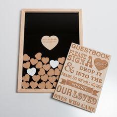 He encontrado este interesante anuncio de Etsy en https://www.etsy.com/es/listing/235894527/heart-drop-box-guest-book-alternative