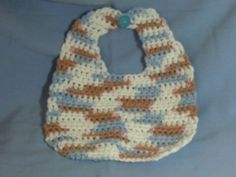 Blue, Brown and White Baby Bib $6.50