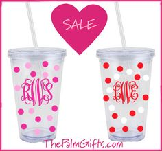 Adorable Monogrammed Tumbler Cups with Straw for your Valentines! At The Palm Gifts http://www.ThePalmGifts.com