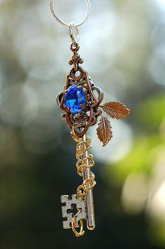 Gem of Golden Fall Key Necklace by KeypersCove.deviantart.com on @deviantART