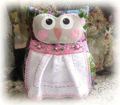 OWL Pillow Owl Doll 9 inch Soft Sculpture Doll by CharlotteStyle, $22.00