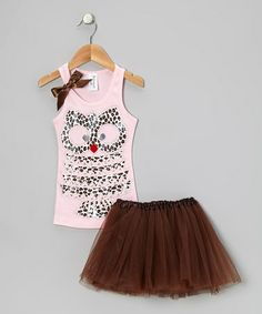 Take a look at this Light Pink Leopard Owl Tank & Brown Tutu - Toddler & Girls by Bubblegum Diva on #zulily today!