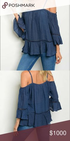 Adorable Embroidered Cold Shoulder Top Adorable and romantic navy cold shoulder blouse. Embroidery embellishment with bell sleeves, and spaghetti straps. Beautiful Navy color. Measurements taken lying flat. Length is measured starting at the shoulder.  S: B 18.5  inches L 23.5 inches M: B 20 inches L 25 inches L: B 21 inches L 27 inches. 35% Polyester and 65% Rayon Tops