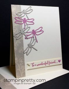 Dragonfly Dreams Stamp Set & Detailed Dragonflies Thinlits Dies friend card.  Mary Fish, Stampin' Up! Demonstrator.  1000+ StampinUp & SUO card ideas.  Read more http://stampinpretty.com/2016/12/michelle-12-03-2016.html