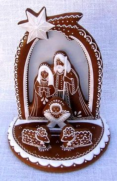 Nativity in brown and white. Christmas Sugar Cookies, Christmas Cupcakes, Christmas Treats, Christmas Baking, Handmade Christmas, Christmas Diy, Holiday, Christmas Gingerbread House, Christmas Nativity