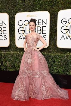 Lily Collins at the 74th Annual Golden Globe Awards at The Beverly Hilton Hotel on January 8, 2017 in Beverly Hills, California.