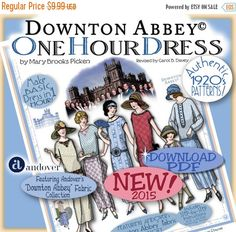 The One Hour Dress DOWNTON ABBEY 2014-15 Editon! Now available as an INSTANT DOWNLOAD PDF! (Etsy will send the link immediately after purchase!) NEW! Go to HawthorneThreads.com for printed version! Thanks so much for your interest in the 1920s Hats and One Hour Dress Booklets! We were so excited to be asked again by Andover Fabrics to help promote their newest Downton Abbey Fabric Lines! We think these booklets will be a lot of fun for Fans to use to make their Downton Abbey Teas so much…