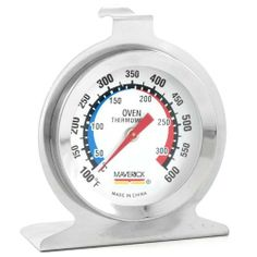 Maverick Oven-Chek Analog Oven Thermometer by Maverick. $5.99. Stands or hangs. 600°F gauge limit. Polished silver colored exterior. Wipe clean. Fahrenheit and Celsius readouts. Sometimes, you just can't beat the old tested and tried analog thermometer. This one uses a dial gauge, and is labeled in both Fahrenheit and Celsius around the perimeter. Packed with simple convenience, it stands or hangs, and has a polished silver colored exterior. The gauge has a 600°F limit.Pr...