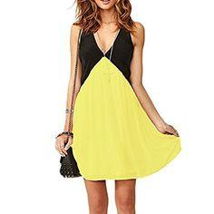 Kleid Damen Kontrast Farbe Spleiß Ausgezogener Rücken Tiefe V-Ausschnitt Ärmellos Chiffon Dress 5 Farben: Amazon.de: Bekleidung