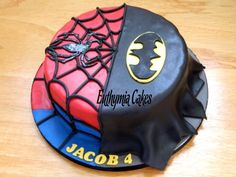 Spiderman/Batman Chocolate cake with Oreo buttercream