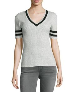 TRP4E FRAME Ribbed V-Neck Sweater w/Stripes, Gris/Navy Stripe