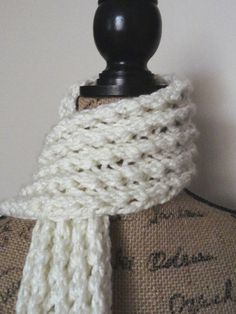 Ribbed Lace Scarf - Purl Avenue...easy, fast 2 row repeat pattern in bulky yarn. K& P YO's, that's it