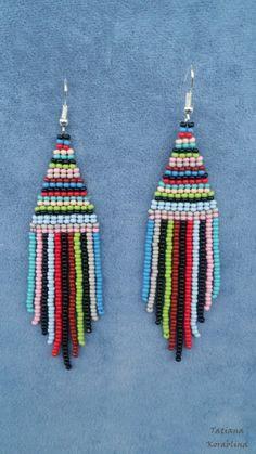 Long Beaded Boho Earrings red color seed beads leaf finding Native American Style Beaded Earrings green