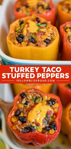 Turkey Taco Stuffed Peppers are quick, easy and fun! Tender bell peppers stuffed… Turkey Taco Stuffed Peppers are quick, easy and fun! Tender bell peppers stuffed with ground turkey taco meat, beans, corn and cheese make a delicious meal! Ground Turkey Stuffed Peppers, Taco Stuffed Peppers, Stuffed Turkey, Ground Turkey And Peppers Recipe, Ground Turkey Meat Recipes, Meals With Ground Turkey, Bell Pepper Stuffed, Gastronomia, Salsa Roja