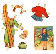 Vintage 1940's Retro Girl Paper Doll Summer by mindfulresource