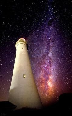 Split Point, Airey's Inlet Lighthouse, Victoria, Australia with the southern hemisphere's half of the Milky Way in the background.