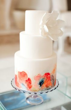 From soft watercolor flowers to bold geometric designs, hand painted wedding cakes are quickly becoming one of this seasons hottest wedding trends. Gorgeous Cakes, Pretty Cakes, Amazing Cakes, Dessert, Watercolor Wedding Cake, Pastel Watercolor, Watercolor Design, Painted Wedding Cake, Naked Cakes