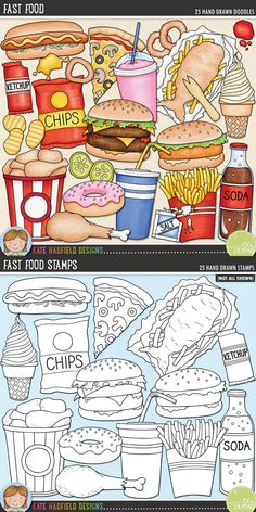 Junk food digital scrapbooking elements | Cute fast food clip art | Hand-drawn doodles for digital scrapbooking, crafting and teaching resources from Kate Hadfield Designs! Click through to see projects created using these illustrations!
