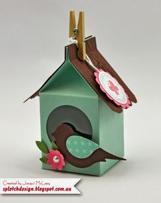Splotch Design - Jacquii McLeay - Stampin Up - Milk Carton Bird House Mini Milk, Milk Box, Milk Carton Crafts, Scrapbook Box, Scrapbooking, Tarjetas Diy, 3d Quilling, Paper Birds, Carton Box