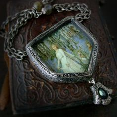 The Fairy Wood   Pictorial Shield Necklace by ParrishRelics, $88.00