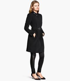 Fitted coat in woven fabric with imitation leather details.   http://foxyblu.com/details/140462