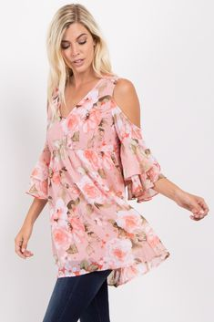 Floral print chiffon cold shoulder top. Babydoll style. Ruffled sleeves. Double lined to prevent sheerness. V-neckline. This style was created to be worn before, during, and after pregnancy.